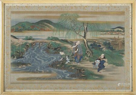 日本 十九世紀 設色絹本 浮世絵人物故事畫 四件