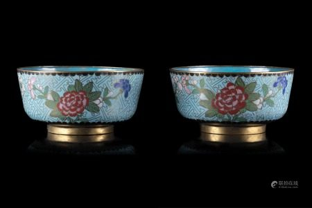 中國 二十世紀 掐絲琺琅花卉紋盌 一對