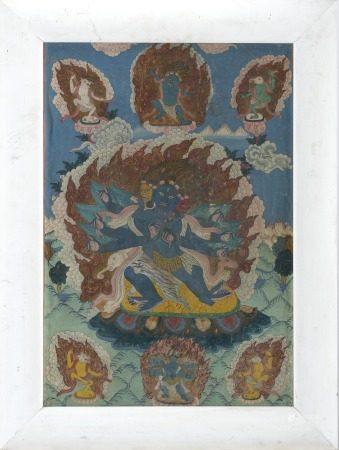 中國/西藏 十九世紀末 瑪哈嘎拉唐卡