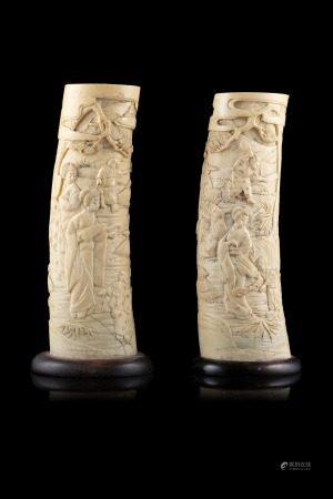 日本 二十世紀初 象牙雕人物圖擺件 一對