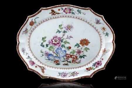 中國 十八世紀 東印度公司彩繪花卉紋盤