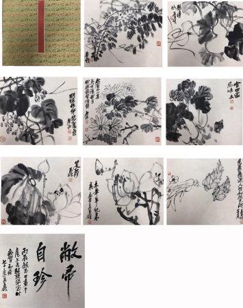 吴昌硕 花卉八开册页