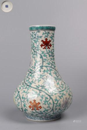 "Chinese Dou Cai ""Lotus"" Porcelain Bottle"