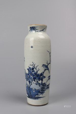 """Chinese Blue And White """"Birds And Flowers"""" Porcelain Bottle"""