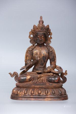 Chinese Bronze Gold Gilded Buddha Statue