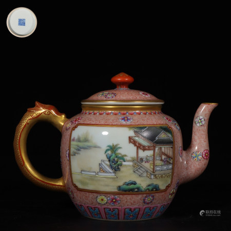 """Chinese Famille Rose Gold Painted """"Flower And Landscape"""" Porcelain Pot"""