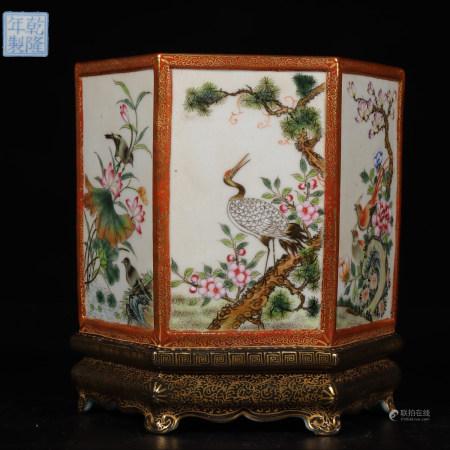 "Chinese Famille Rose Gold Painted ""Flower"" Porcelain Brush Pot"