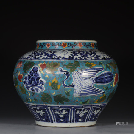 """Chinese Blue And White """"Flowers And Cranes"""" Porcelain Jar"""