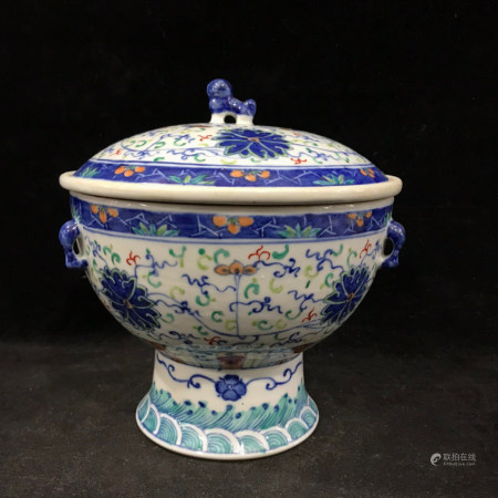 "Chinese Dou Cai ""Lotus"" Porcelain Vessel"