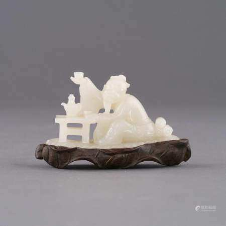 CHINESE WHITE JADE OF SCHOLAR FIGURE