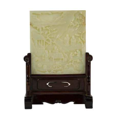 JADE FIGURINES LANDSCAPE TABLE SCREEN