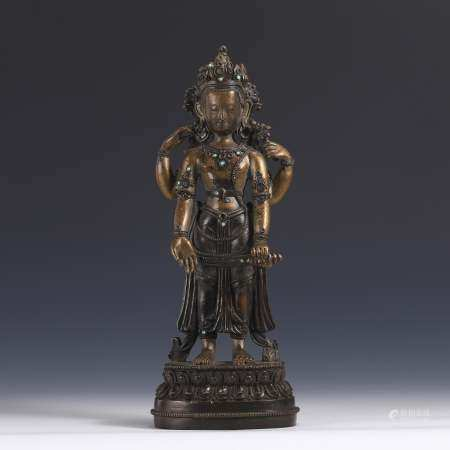 GILT BRONZE STATUE OF GUANYIN