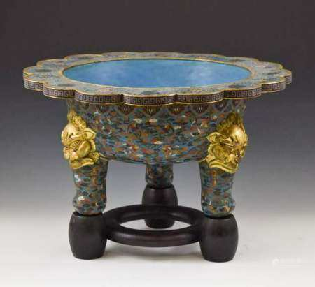 MASSIVE QING GILT BRONZE CLOISONNE TRIPOD BASIN ON