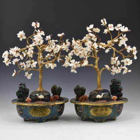 PAIR OF GILT BRONZE CLOISSONNE FLOWERING PLANTS
