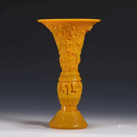 DRAGON RELIEF PEKING GLASS FLOWER GOBLET