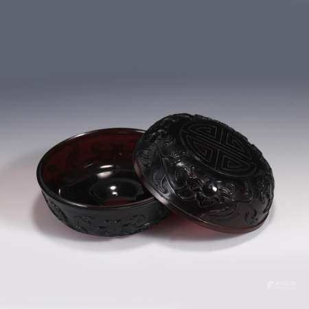 PEKING GLASS AMBER COLOR LIDDED BOX