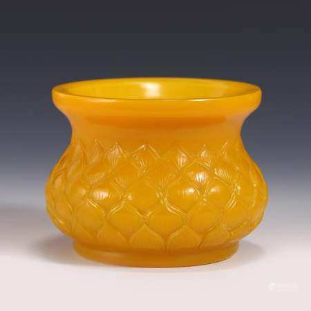 YELLOW PEKING GLASS INCENSE BURNER