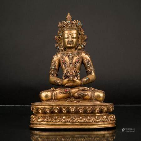 18TH C QING GILT BRONZE INLAID AMITAYUS BUDDHA