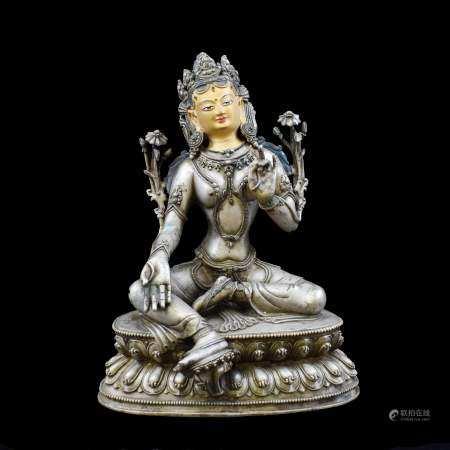 MING CHINESE GILT SILVER BUDDHA OF TARA
