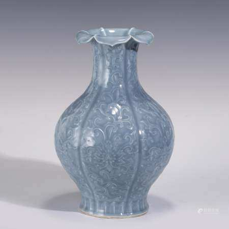 FLORAL RELIEFS SKY BLUE GALZED SIX-SIDED BEGONIA VASE