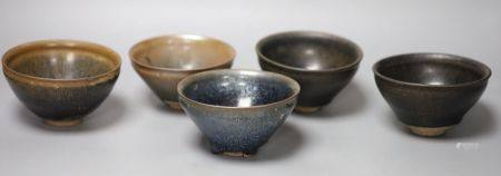 Five Chinese hare's fur bowls, tallest 7.5cmCONDITION: One bowl with two shallow grazes to neck rim,