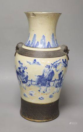 A 19th century Chinese blue and white crackle glaze vase, height 42.5cm apocryphal Qianlong nian zhi