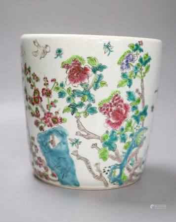 A Cantonese floral enamelled vase, height 20cm