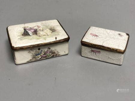 Two 18th century white enamelled snuff boxes, largest 8.5cm.
