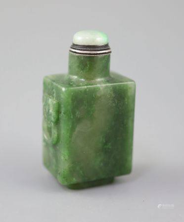 A good Chinese spinach green jade rectangular snuff bottle, 18th/19th century, the sides carved in
