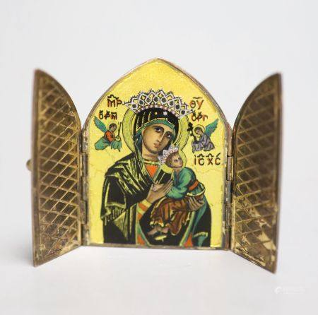 A miniature arched gilt 925 and enamelled folding icon, 54mm, the back bearing the engraving '925