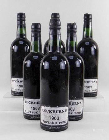 SIX BOTTLES OF COCKBURN'S 1963 VINTAGE PORT, shipped by Cockburn Smithes and CIA Limitada Oporto (6)