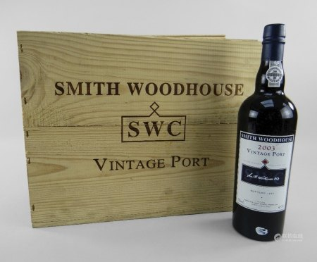 TWELVE BOTTLES OF SMITH WOODHOUSE 2003 VINTAGE PORT in original wood case, bottled by Symington