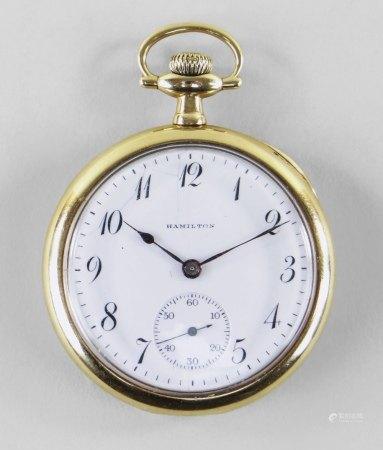 HAMILTON 14K KEYLESS WIND OPEN FACED POCKET WATCH, c. 1916, cal./grade 914, ser. no. 177****,