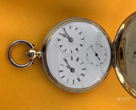 18CT GOLD JEAN-ANTOINE LEPINE FULL HUNTER POCKET WATCH having enamel Turkish, Roman and Arabic