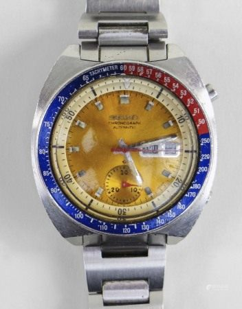 SEIKO 'POGUE' AUTOMATIC CHRONOGRAPH GENT'S WRISTWATCH, stainless steel, ref. 6139-6002, circular