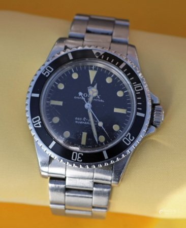 ROLEX OYSTER PERPETUAL SUBMARINER BRACELET WATCH, ref. 5513, stainless steel, automatic movement,