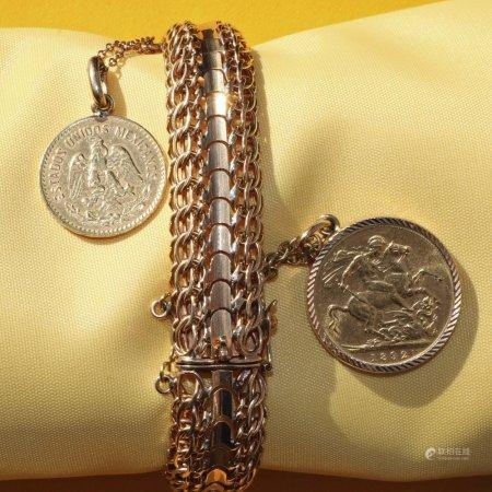YELLOW METAL ARTICULATED BRACELET set with two Estados Unidos Mexicanos coins engraved 'David 12-