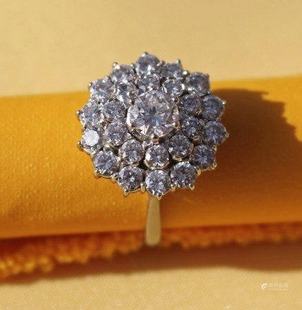 GRAFF 18CT WHITE COLD DIAMOND CLUSTER RING, the central diamond (0.6cts approx.) surrounded by a