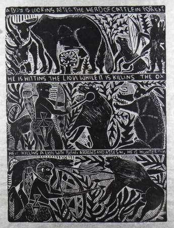 JOHN NDEVASIA MUAFANGEJO (Namibian, 1943-1987) limited edition (135/150) linocut on Japan paper -