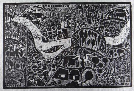JOHN NDEVASIA MUAFANGEJO (Namibian, 1943-1987) limited edition (55/100) linocut on Japan paper -