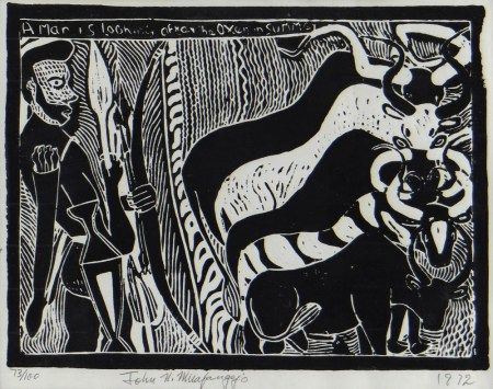 JOHN NDEVASIA MUAFANGEJO (Namibian, 1943-1987) limited edition (73/100) linocut - A Man is Looking