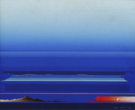 TETSURO SAWADA (Japanese, 1933-1998) oil on canvas - Blue Skyscape, signed and dated '80, verso with