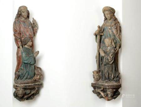 A PAIR OF RARE BRUSSELS OR TOURNAI STONE SCULPTURES ON THEIR ORIGINAL CONSOLES DEPICTING TWO DONORS
