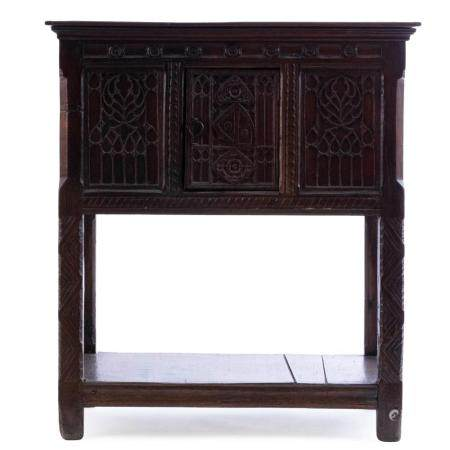 A LATE GOTHIC OAK CABINET, A SO-CALLED 'TRESOOR' FROM THE SECOND HALF OF 15TH CENTURY. CHEST-SHAPED