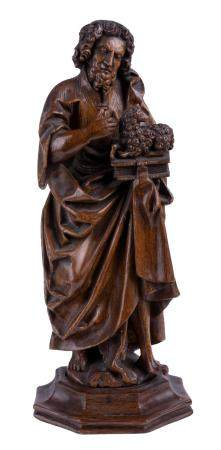 AN EARLY 16TH-CENTURY OAK SCULPTURE OF SAINT JOHN THE BAPTIST WITH THE LAMB OF GOD. BIG TOE OF THE L