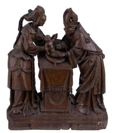 AN ANTWERP RELIEF FROM AN ALTARPIECE DEPICTING 'THE CIRCUMCISION', C. 1520. MARKED WITH ANTWERP