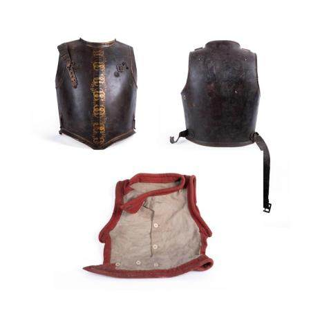 VARIED LOT OF THREE ARMOUR PARTS, ASSEMBLED FROM DIFFERENT ARMOURS: 1. CHEST CUIRASS OF THE GUARDS C