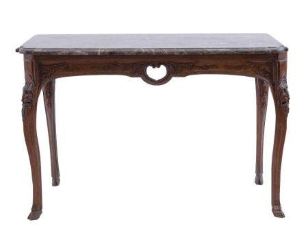 A 19TH-CENTURY WALL TABLE FROM LIEGE CARVED IN OAK WITH A GREY MARBLE TOP. CABRIOLE LEGS DECORATED W