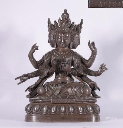 A CHINESE SILVER BUDDHA STATUE
