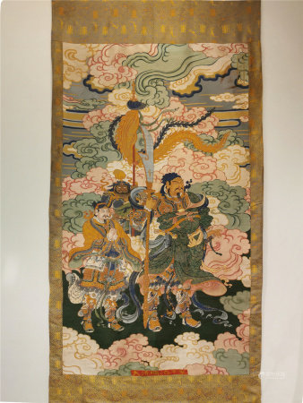 A CHINESE HAND EMBROIDERY HANGING ITEM